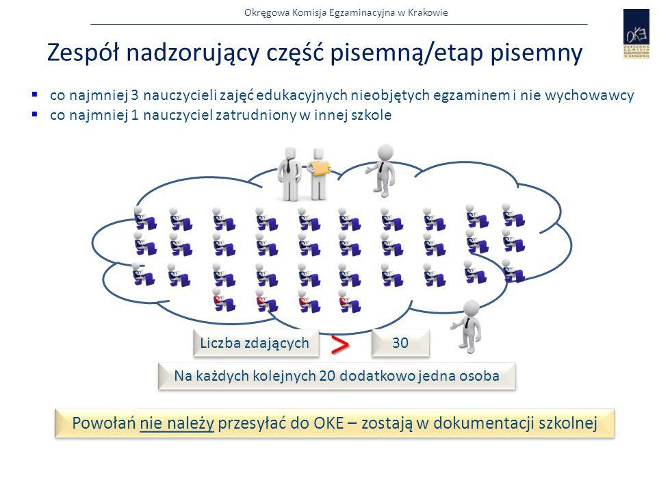 Okręgowa Komisja Egzaminacyjna w Krakowie Zespół nadzorujący część pisemną/etap pisemny  co najmniej 3 nauczycieli zajęć edukacyjnych nieobjętych egz