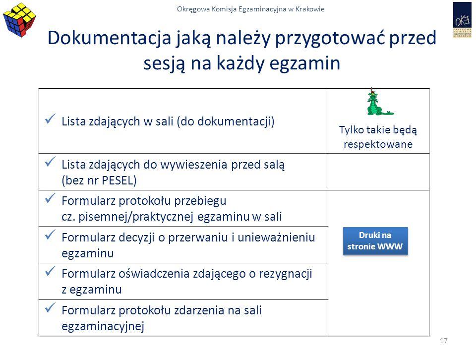Okręgowa Komisja Egzaminacyjna w Krakowie Dokumentacja jaką należy przygotować przed sesją na każdy egzamin Lista zdających w sali (do dokumentacji) T
