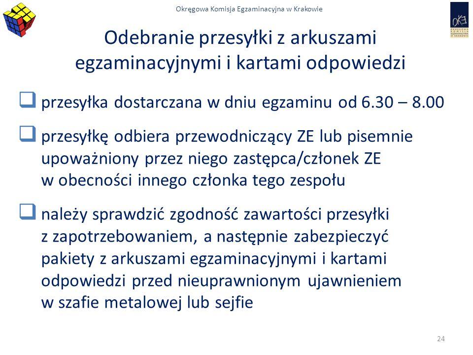 Okręgowa Komisja Egzaminacyjna w Krakowie Odebranie przesyłki z arkuszami egzaminacyjnymi i kartami odpowiedzi  przesyłka dostarczana w dniu egzaminu