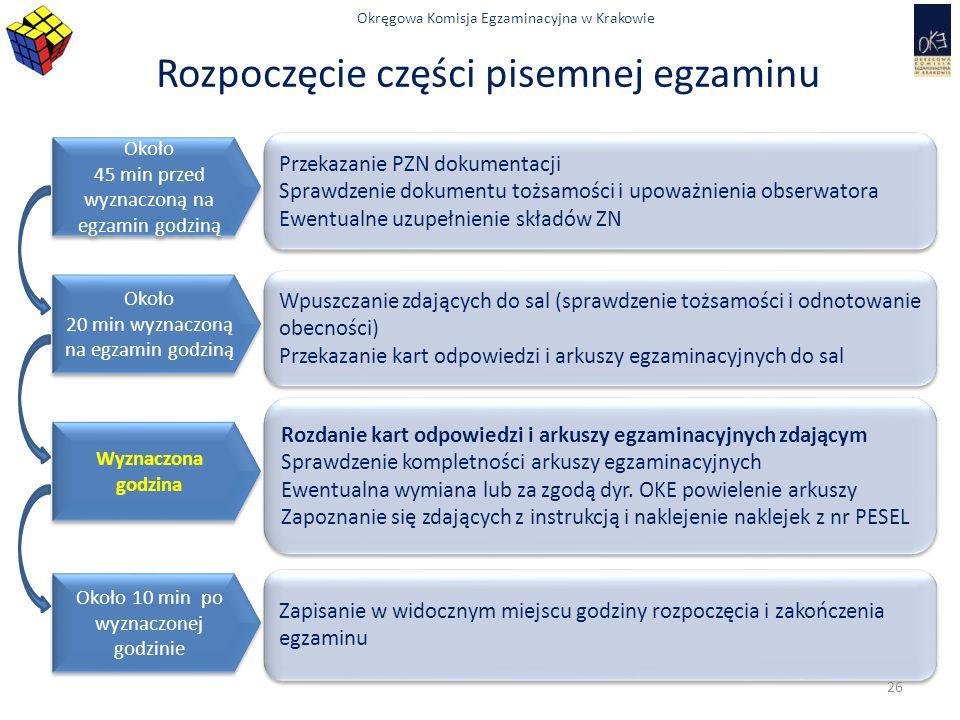 Okręgowa Komisja Egzaminacyjna w Krakowie Rozpoczęcie części pisemnej egzaminu Około 45 min przed wyznaczoną na egzamin godziną Około 45 min przed wyz