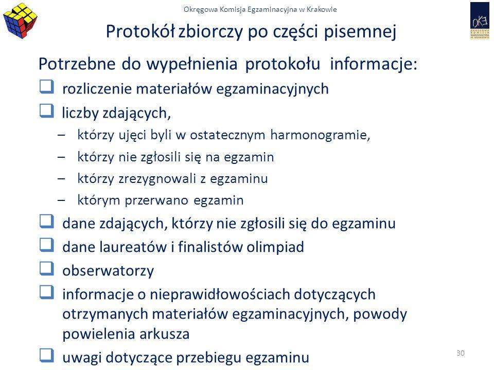 Okręgowa Komisja Egzaminacyjna w Krakowie Protokół zbiorczy po części pisemnej Potrzebne do wypełnienia protokołu informacje:  rozliczenie materiałów