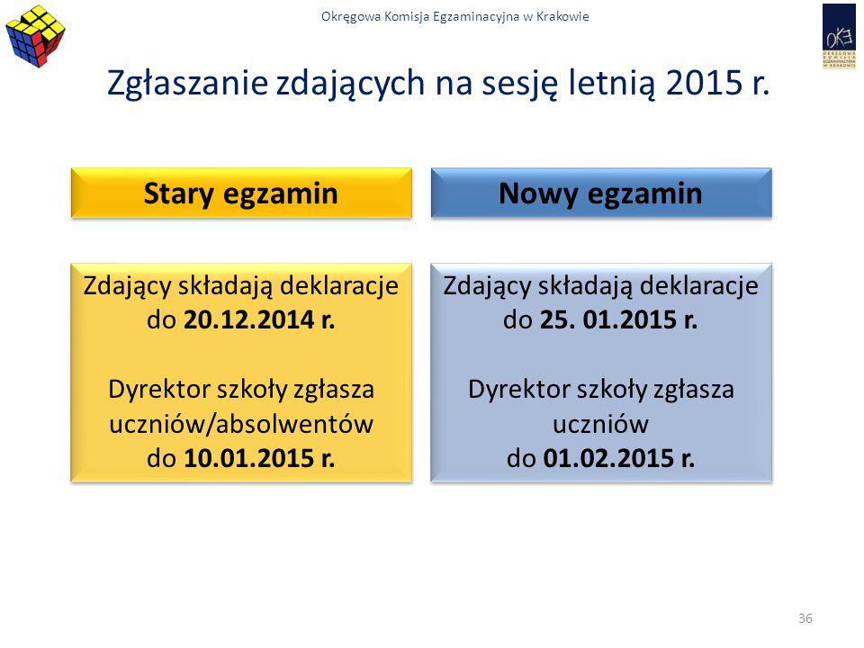 Okręgowa Komisja Egzaminacyjna w Krakowie Zgłaszanie zdających na sesję letnią 2015 r. Stary egzamin Nowy egzamin Zdający składają deklaracje do 20.12