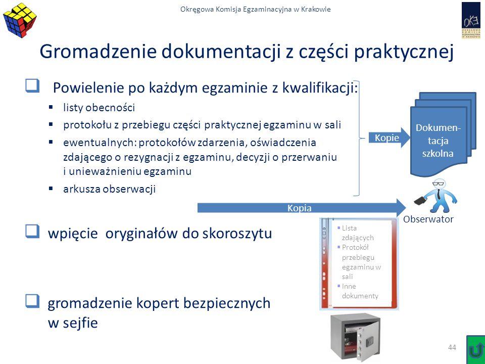 Okręgowa Komisja Egzaminacyjna w Krakowie Gromadzenie dokumentacji z części praktycznej  Powielenie po każdym egzaminie z kwalifikacji:  listy obecn
