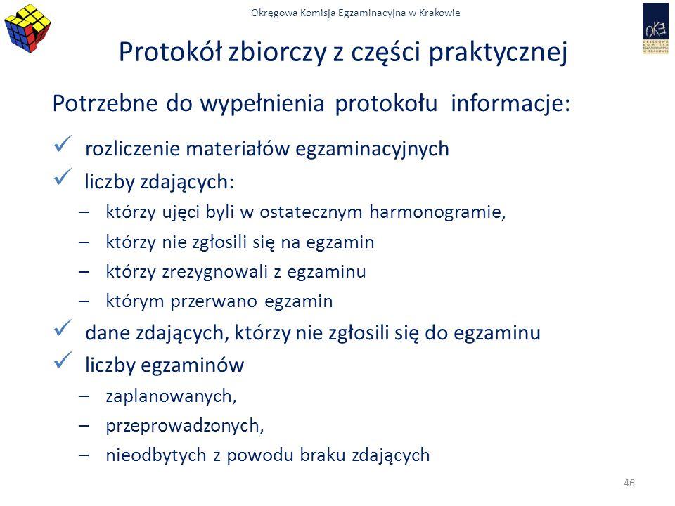 Okręgowa Komisja Egzaminacyjna w Krakowie Protokół zbiorczy z części praktycznej Potrzebne do wypełnienia protokołu informacje: rozliczenie materiałów