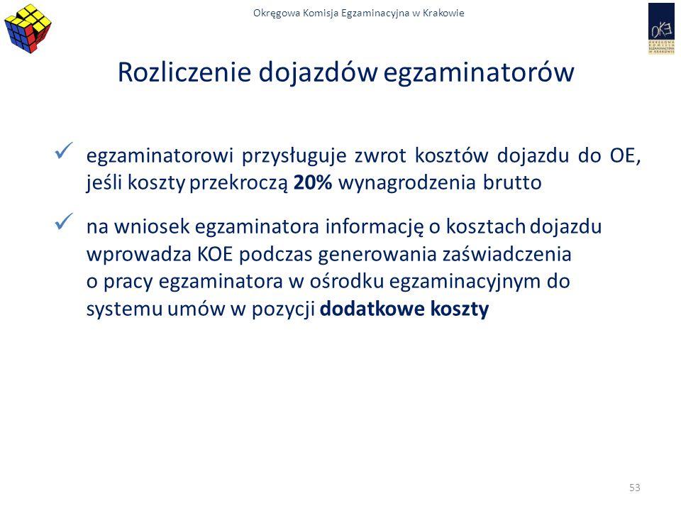 Okręgowa Komisja Egzaminacyjna w Krakowie Rozliczenie dojazdów egzaminatorów egzaminatorowi przysługuje zwrot kosztów dojazdu do OE, jeśli koszty prze