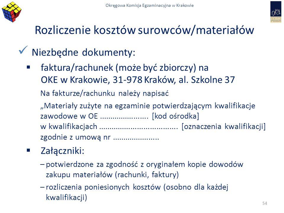 Okręgowa Komisja Egzaminacyjna w Krakowie Rozliczenie kosztów surowców/materiałów Niezbędne dokumenty:  faktura/rachunek (może być zbiorczy) na OKE w