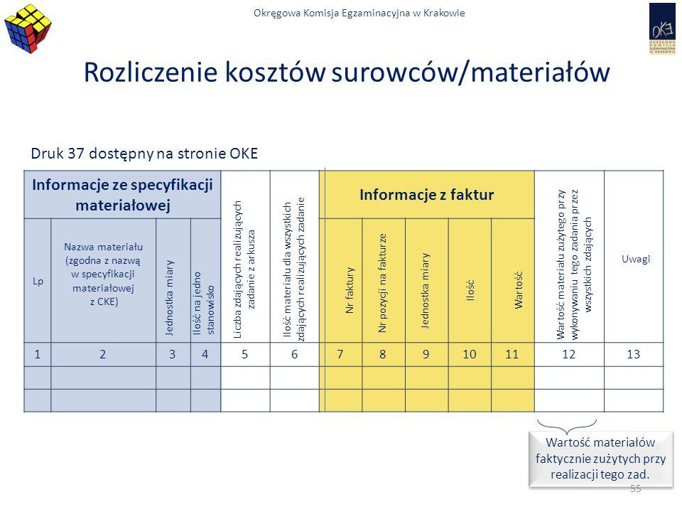 Okręgowa Komisja Egzaminacyjna w Krakowie Rozliczenie kosztów surowców/materiałów Druk 37 dostępny na stronie OKE Wartość materiałów faktycznie zużyty