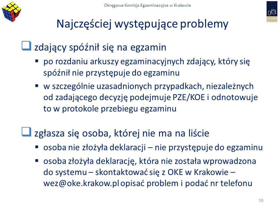 Okręgowa Komisja Egzaminacyjna w Krakowie Najczęściej występujące problemy  zdający spóźnił się na egzamin  po rozdaniu arkuszy egzaminacyjnych zdaj