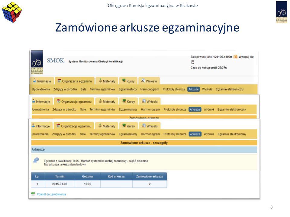 Okręgowa Komisja Egzaminacyjna w Krakowie Najczęściej występujące problemy  zdający spóźnił się na egzamin  po rozdaniu arkuszy egzaminacyjnych zdający, który się spóźnił nie przystępuje do egzaminu  w szczególnie uzasadnionych przypadkach, niezależnych od zadającego decyzję podejmuje PZE/KOE i odnotowuje to w protokole przebiegu egzaminu  zgłasza się osoba, której nie ma na liście  osoba nie złożyła deklaracji – nie przystępuje do egzaminu  osoba złożyła deklarację, która nie została wprowadzona do systemu – skontaktować się z OKE w Krakowie – wez@oke.krakow.pl opisać problem i podać nr telefonu 59