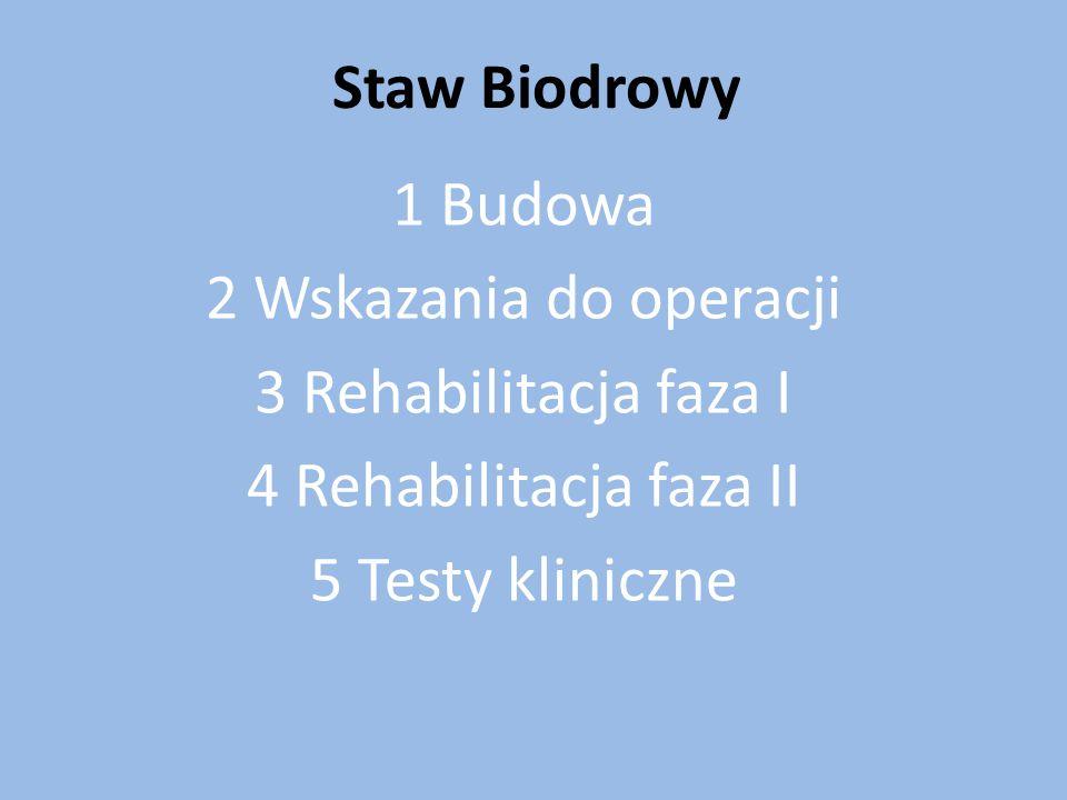 Staw Biodrowy 1 Budowa 2 Wskazania do operacji 3 Rehabilitacja faza I 4 Rehabilitacja faza II 5 Testy kliniczne