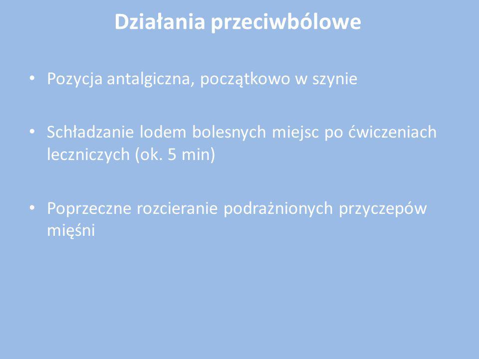 Działania przeciwbólowe Pozycja antalgiczna, początkowo w szynie Schładzanie lodem bolesnych miejsc po ćwiczeniach leczniczych (ok. 5 min) Poprzeczne