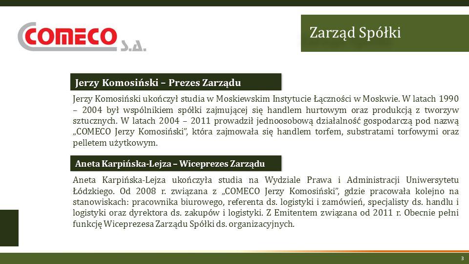 3 Jerzy Komosiński – Prezes Zarządu Aneta Karpińska-Lejza – Wiceprezes Zarządu Jerzy Komosiński ukończył studia w Moskiewskim Instytucie Łączności w Moskwie.