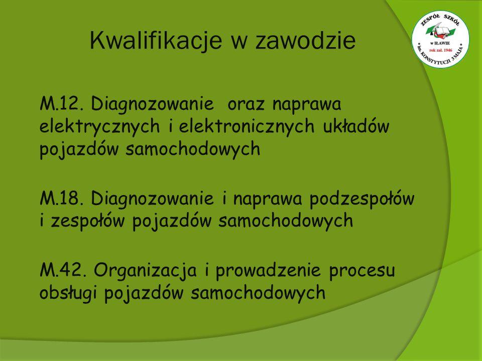 Kwalifikacje w zawodzie M.12. Diagnozowanie oraz naprawa elektrycznych i elektronicznych układów pojazdów samochodowych M.18. Diagnozowanie i naprawa
