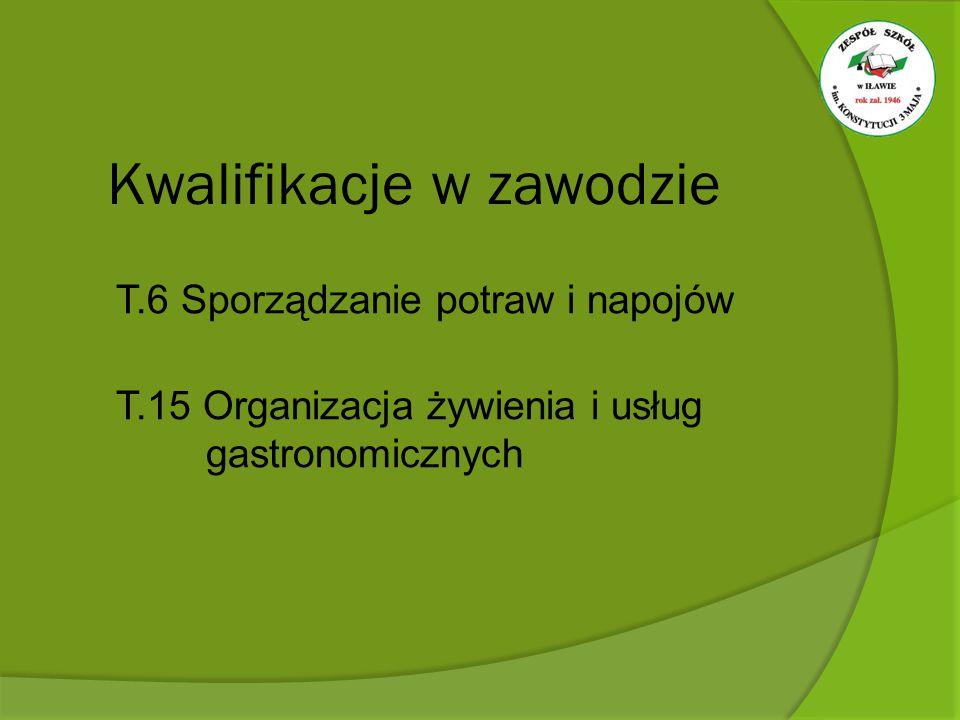 T.6 Sporządzanie potraw i napojów T.15 Organizacja żywienia i usług gastronomicznych Kwalifikacje w zawodzie