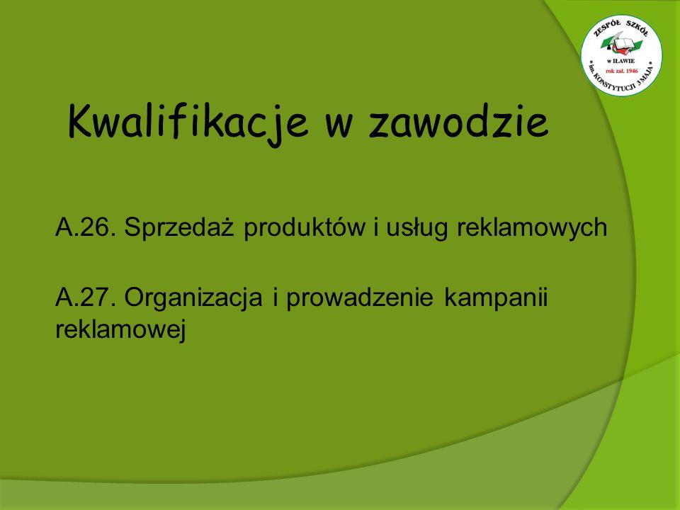 Kwalifikacje w zawodzie A.26. Sprzedaż produktów i usług reklamowych A.27. Organizacja i prowadzenie kampanii reklamowej