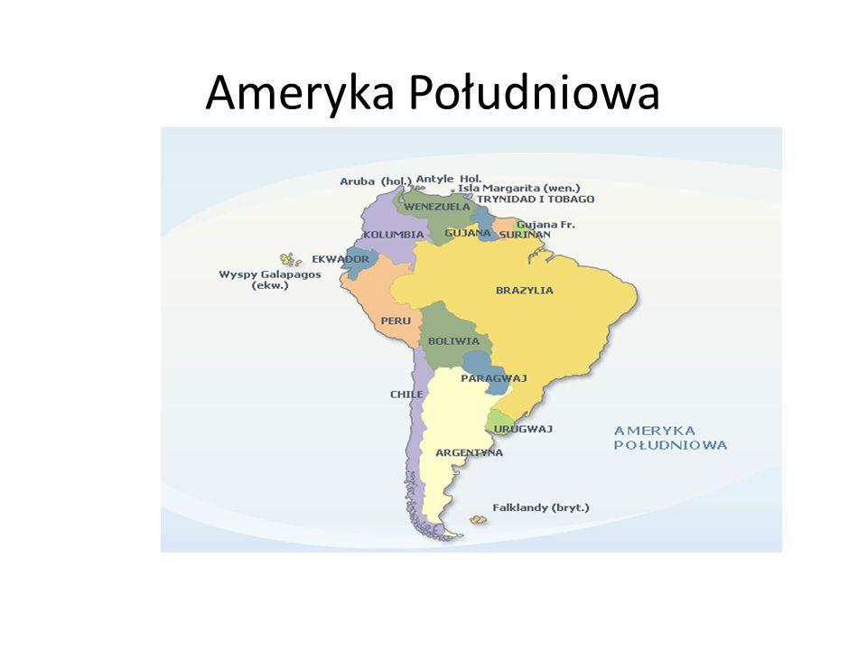 Parę informacji Ameryka Południowa – kontynent leżący na półkuli zachodniej oraz w większej części na półkuli południowej, a w mniejszej – na półkuli północnej.