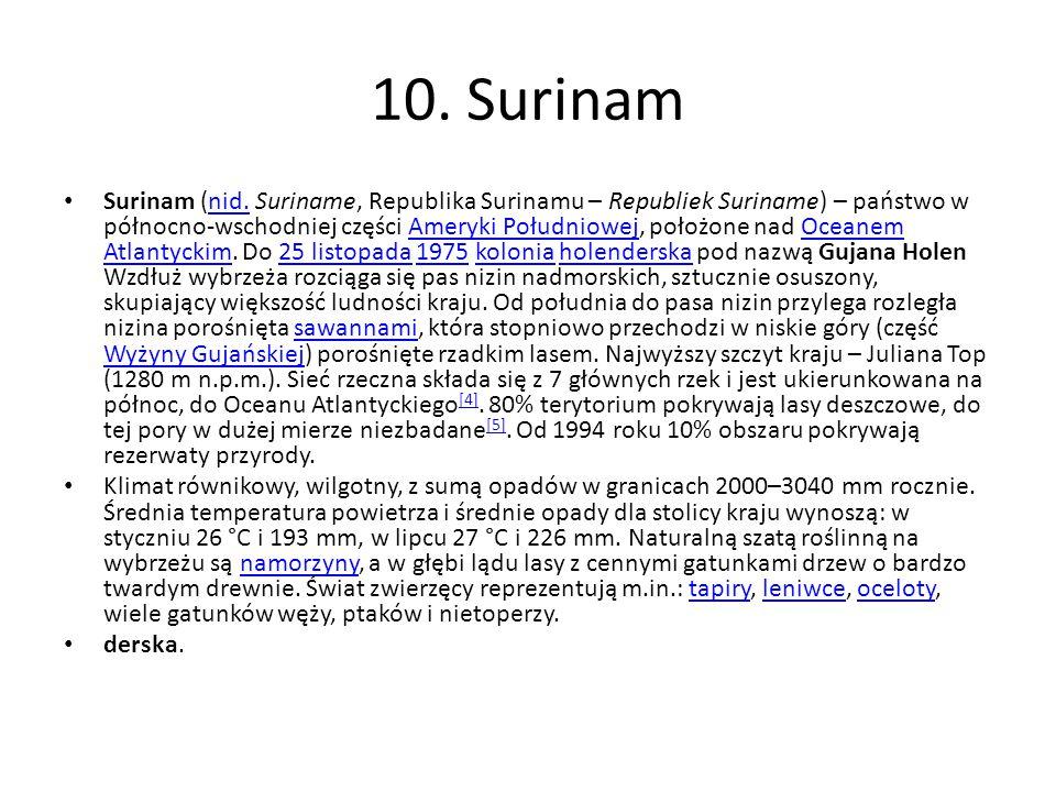 10. Surinam Surinam (nid. Suriname, Republika Surinamu – Republiek Suriname) – państwo w północno-wschodniej części Ameryki Południowej, położone nad