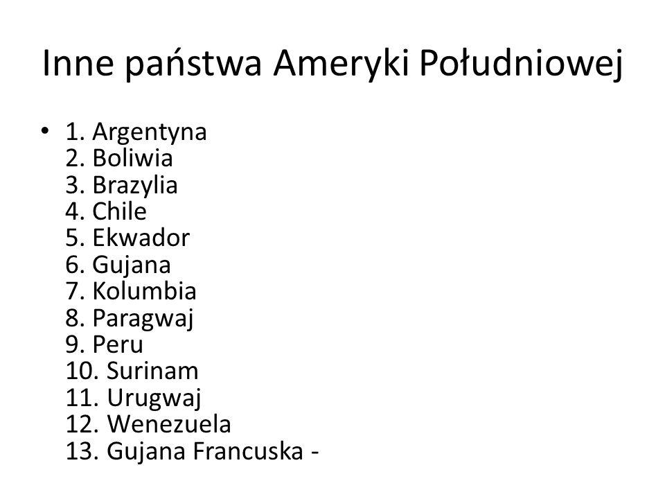 Inne państwa Ameryki Południowej 1. Argentyna 2. Boliwia 3. Brazylia 4. Chile 5. Ekwador 6. Gujana 7. Kolumbia 8. Paragwaj 9. Peru 10. Surinam 11. Uru