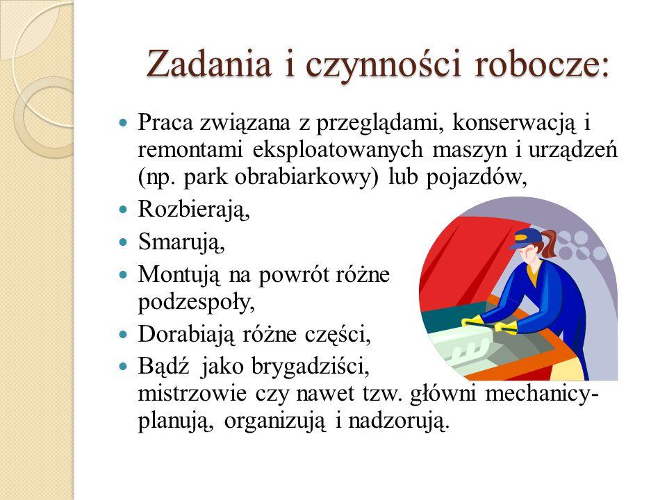 Zadania i czynności robocze: Praca związana z przeglądami, konserwacją i remontami eksploatowanych maszyn i urządzeń (np. park obrabiarkowy) lub pojaz