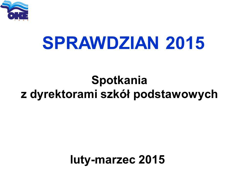 SPRAWDZIAN 2015 luty-marzec 2015 Spotkania z dyrektorami szkół podstawowych