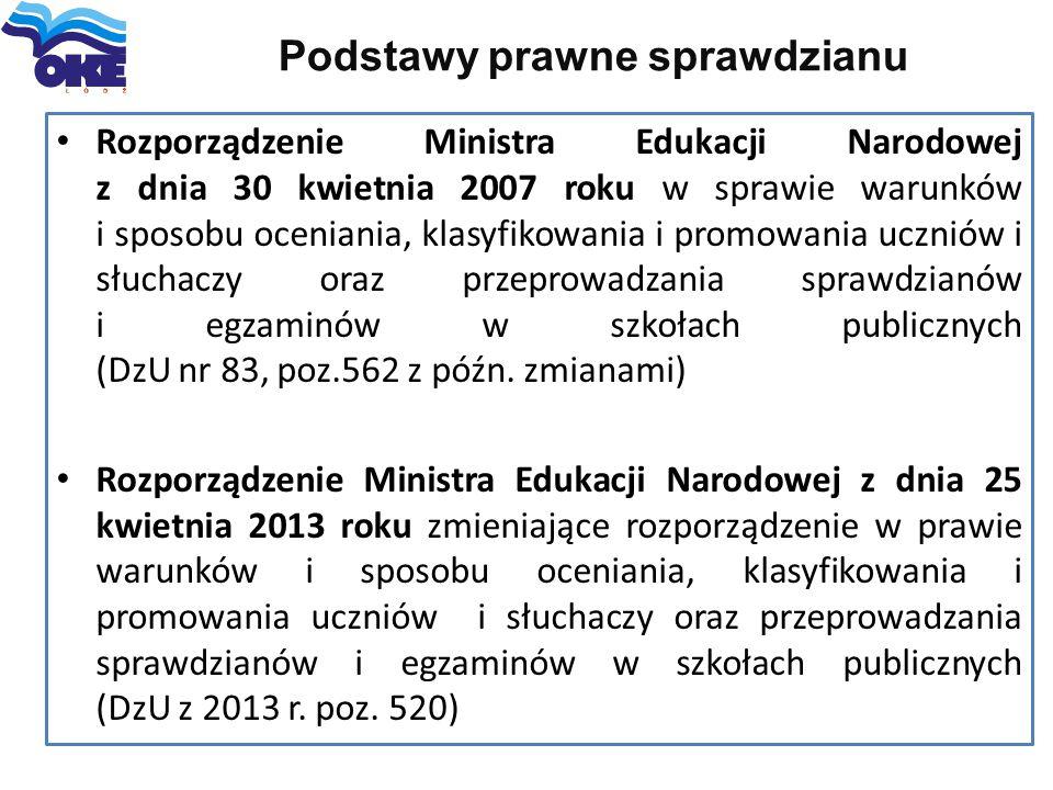 Podstawy prawne sprawdzianu Rozporządzenie Ministra Edukacji Narodowej z dnia 30 kwietnia 2007 roku w sprawie warunków i sposobu oceniania, klasyfikow