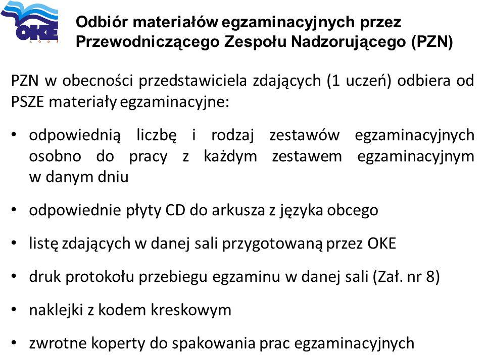 Odbiór materiałów egzaminacyjnych przez Przewodniczącego Zespołu Nadzorującego (PZN) PZN w obecności przedstawiciela zdających (1 uczeń) odbiera od PS