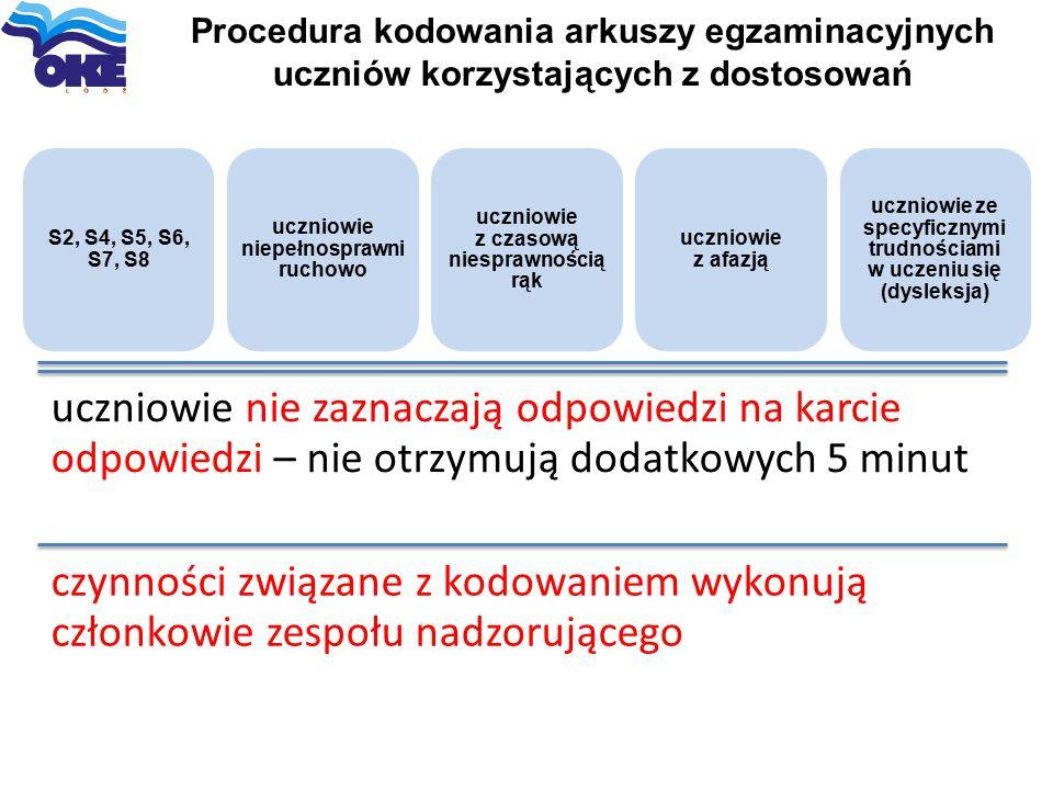 Procedura kodowania arkuszy egzaminacyjnych uczniów korzystających z dostosowań S2, S4, S5, S6, S7, S8 uczniowie niepełnosprawni ruchowo uczniowie z c