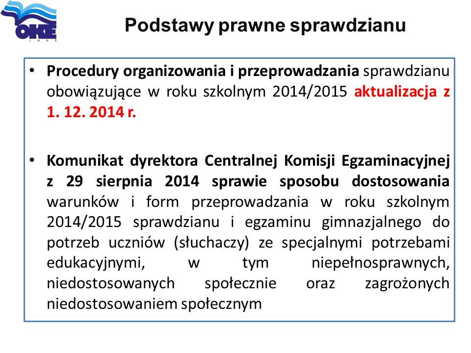 Podstawy prawne sprawdzianu Procedury organizowania i przeprowadzania sprawdzianu obowiązujące w roku szkolnym 2014/2015 aktualizacja z 1. 12. 2014 r.