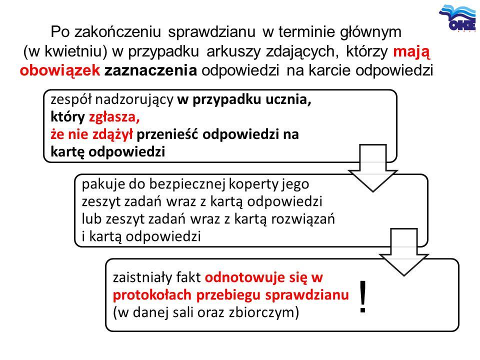 Po zakończeniu sprawdzianu w terminie głównym (w kwietniu) w przypadku arkuszy zdających, którzy mają obowiązek zaznaczenia odpowiedzi na karcie odpow