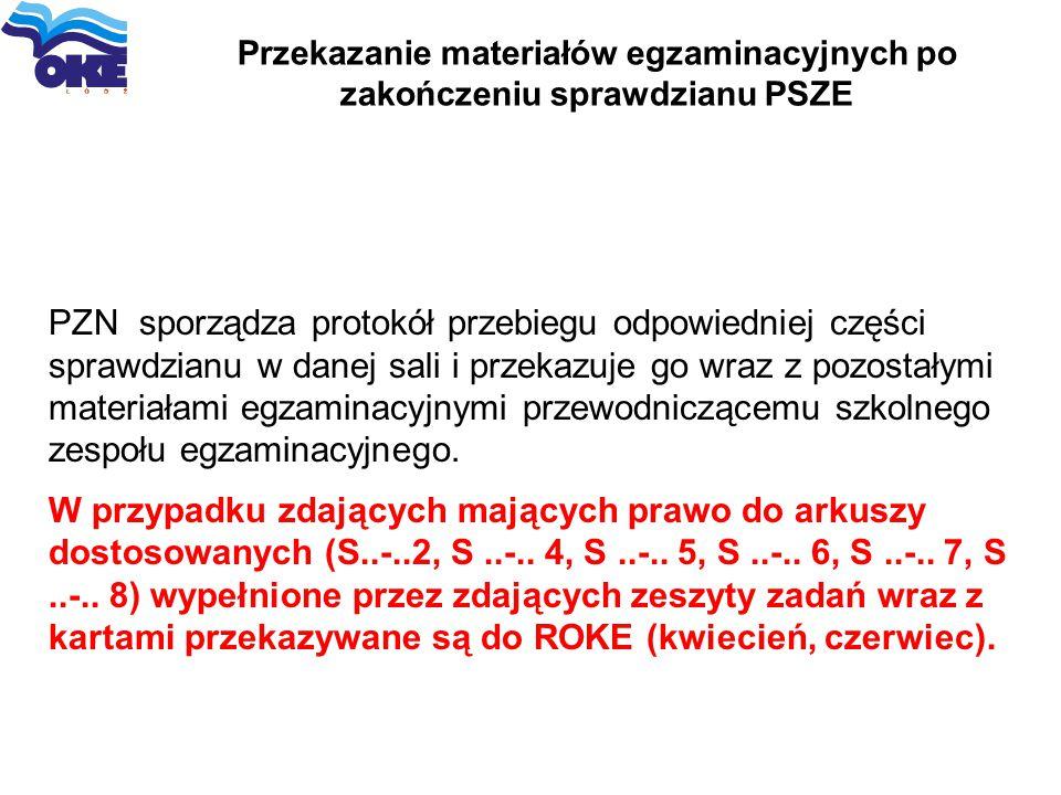 Przekazanie materiałów egzaminacyjnych po zakończeniu sprawdzianu PSZE PZN sporządza protokół przebiegu odpowiedniej części sprawdzianu w danej sali i