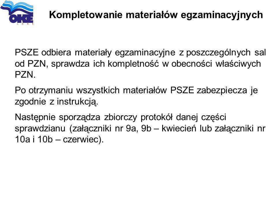 Kompletowanie materiałów egzaminacyjnych PSZE odbiera materiały egzaminacyjne z poszczególnych sal od PZN, sprawdza ich kompletność w obecności właści