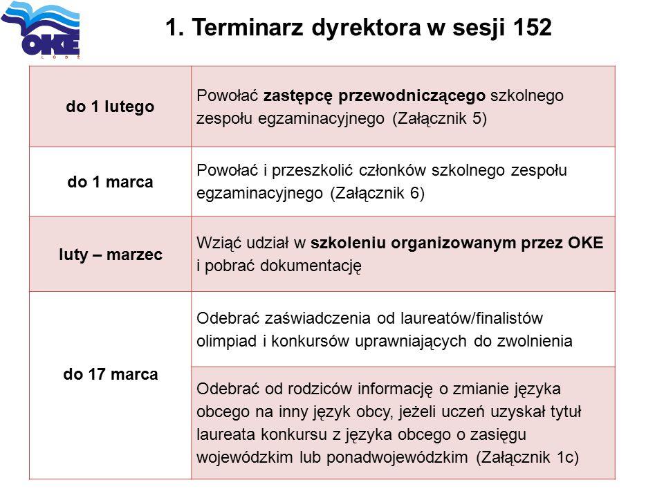 1. Terminarz dyrektora w sesji 152 do 1 lutego Powołać zastępcę przewodniczącego szkolnego zespołu egzaminacyjnego (Załącznik 5) do 1 marca Powołać i