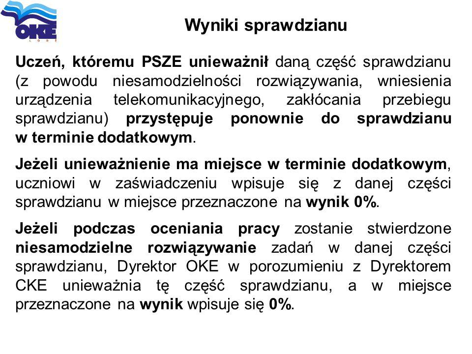 Wyniki sprawdzianu Uczeń, któremu PSZE unieważnił daną część sprawdzianu (z powodu niesamodzielności rozwiązywania, wniesienia urządzenia telekomunika