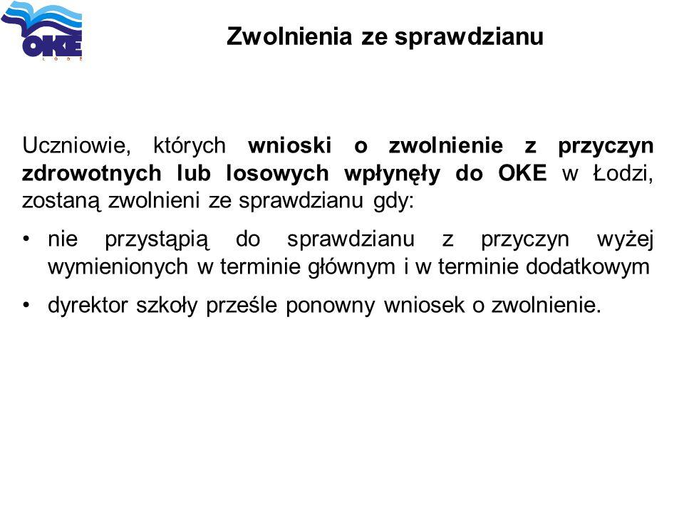 Zwolnienia ze sprawdzianu Uczniowie, których wnioski o zwolnienie z przyczyn zdrowotnych lub losowych wpłynęły do OKE w Łodzi, zostaną zwolnieni ze sp