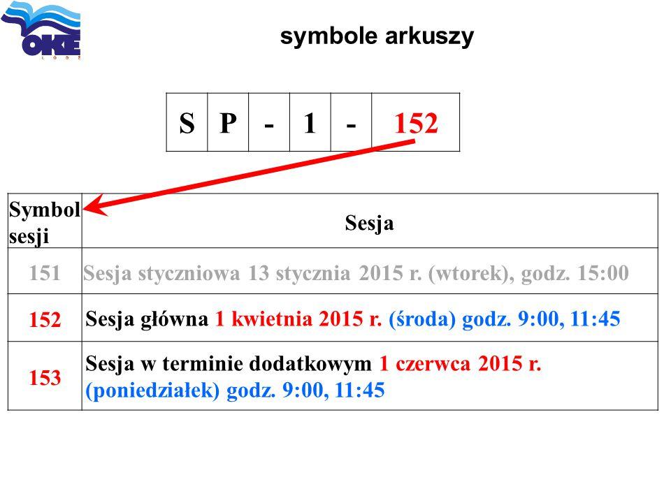 symbole arkuszy SP-1-152 Symbol sesji Sesja 151Sesja styczniowa 13 stycznia 2015 r. (wtorek), godz. 15:00 152 Sesja główna 1 kwietnia 2015 r. (środa)