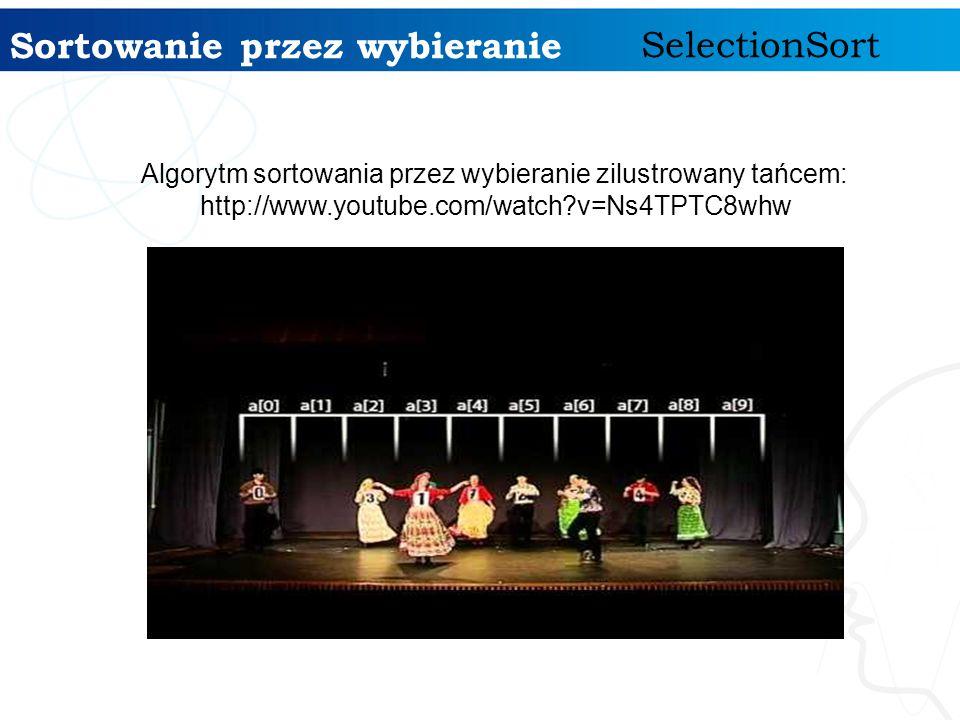 Sortowanie przez wybieranie SelectionSort Algorytm sortowania przez wybieranie zilustrowany tańcem: http://www.youtube.com/watch?v=Ns4TPTC8whw