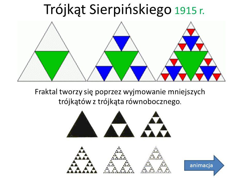 Trójkąt Sierpińskiego 1915 r. animacja Fraktal tworzy się poprzez wyjmowanie mniejszych trójkątów z trójkąta równobocznego.