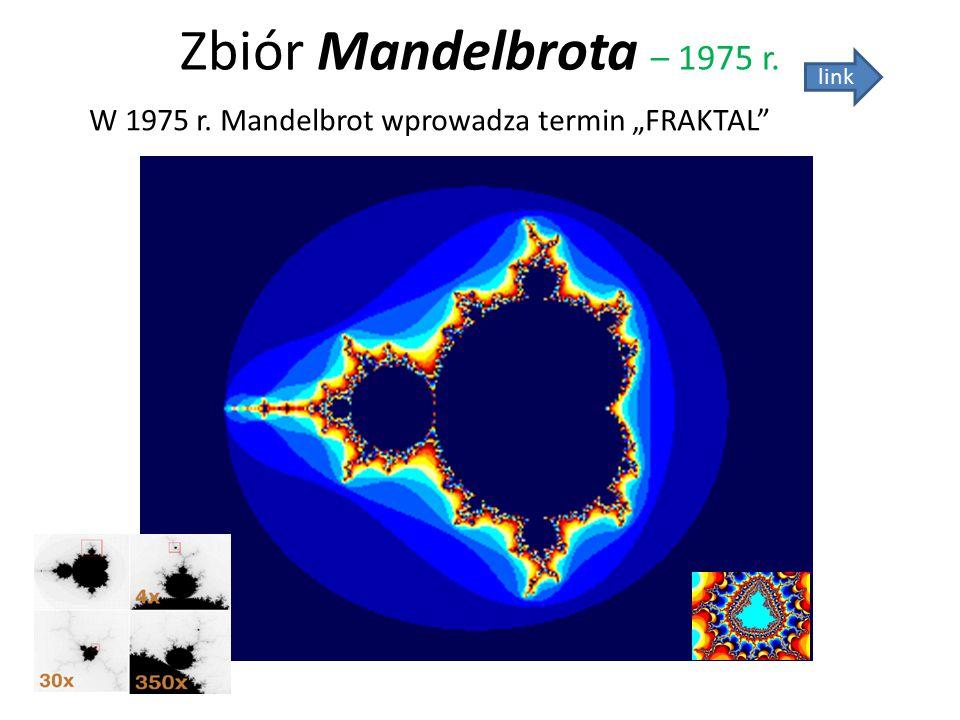 "Zbiór Mandelbrota – 1975 r. link W 1975 r. Mandelbrot wprowadza termin ""FRAKTAL"""