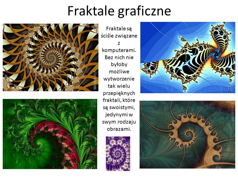 Fraktale graficzne Fraktale są ściśle związane z komputerami. Bez nich nie byłoby możliwe wytworzenie tak wielu przepięknych fraktali, które są swoist