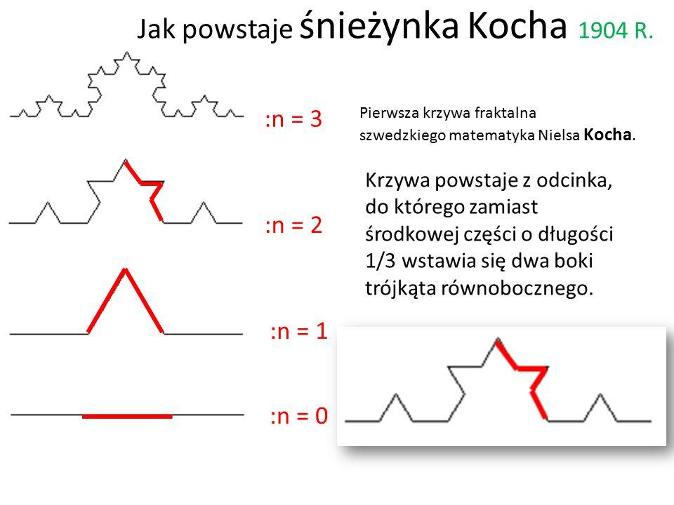 :n = 0 :n = 1 :n = 2 :n = 3 Pierwsza krzywa fraktalna szwedzkiego matematyka Nielsa Kocha. Krzywa powstaje z odcinka, do którego zamiast środkowej czę