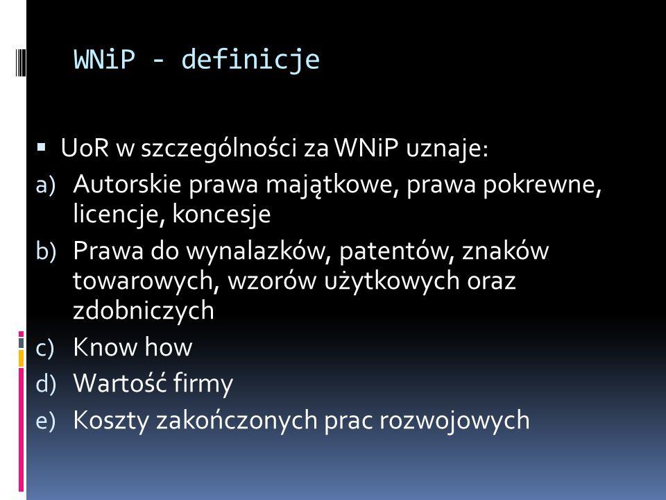 WNiP - definicje  UoR w szczególności za WNiP uznaje: a) Autorskie prawa majątkowe, prawa pokrewne, licencje, koncesje b) Prawa do wynalazków, patentów, znaków towarowych, wzorów użytkowych oraz zdobniczych c) Know how d) Wartość firmy e) Koszty zakończonych prac rozwojowych