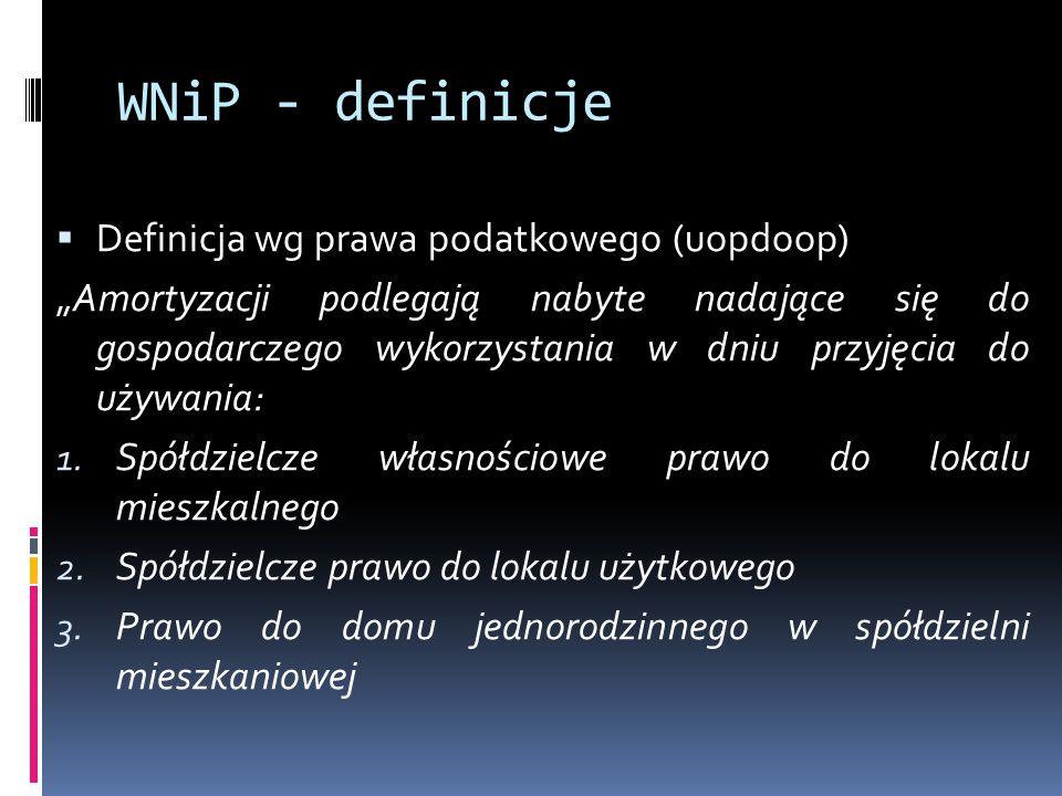 """WNiP - definicje  Definicja wg prawa podatkowego (uopdoop) """"Amortyzacji podlegają nabyte nadające się do gospodarczego wykorzystania w dniu przyjęcia do używania: 1."""