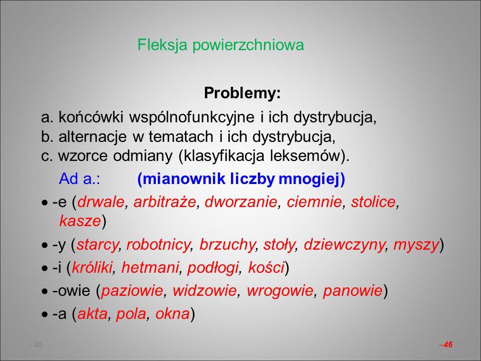 –46 Problemy: a. końcówki wspólnofunkcyjne i ich dystrybucja, b. alternacje w tematach i ich dystrybucja, c. wzorce odmiany (klasyfikacja leksemów). A