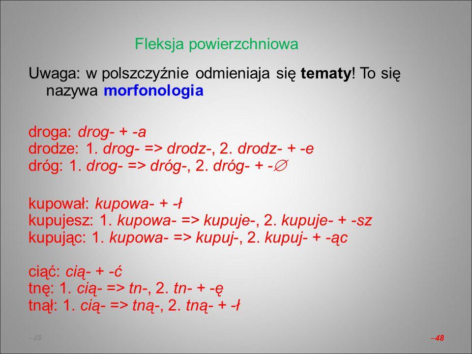 –48 Uwaga: w polszczyźnie odmieniaja się tematy! To się nazywa morfonologia droga: drog- + -a drodze: 1. drog- => drodz-, 2. drodz- + -e dróg: 1. drog