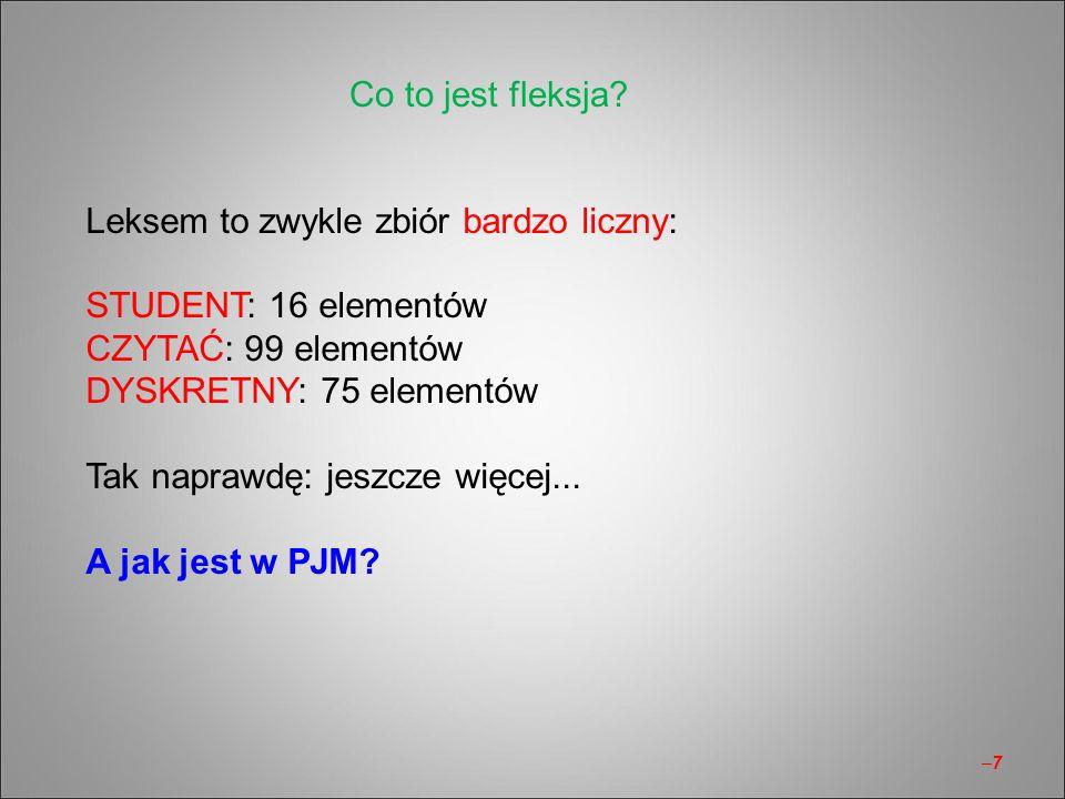 –7–7 Leksem to zwykle zbiór bardzo liczny: STUDENT: 16 elementów CZYTAĆ: 99 elementów DYSKRETNY: 75 elementów Tak naprawdę: jeszcze więcej... A jak je