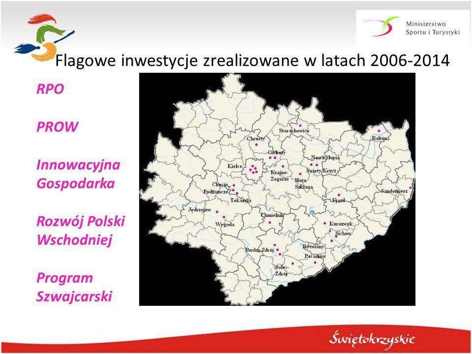 38 największych inwestycji na obszarze infrastruktury turystycznej RPO PROW Innowacyjna Gospodarka Rozwój Polski Wschodniej Program Szwajcarski Flagow