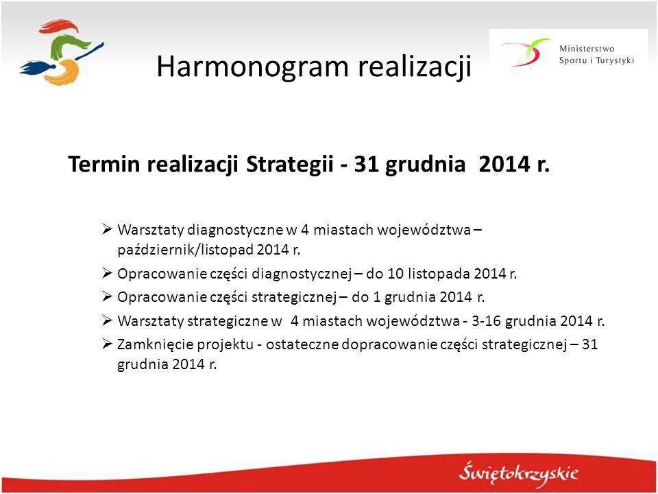 Harmonogram realizacji Termin realizacji Strategii - 31 grudnia 2014 r.  Warsztaty diagnostyczne w 4 miastach województwa – październik/listopad 2014
