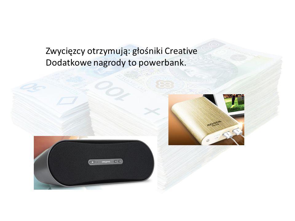 Zwycięzcy otrzymują: głośniki Creative Dodatkowe nagrody to powerbank.