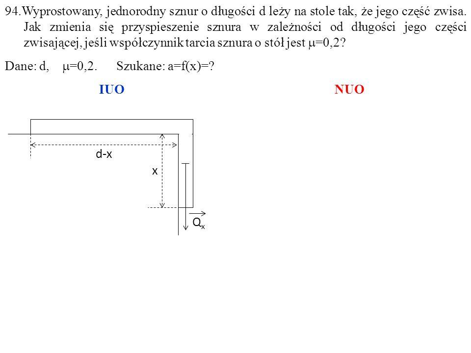 QxQx d-x x 94.Wyprostowany, jednorodny sznur o długości d leży na stole tak, że jego część zwisa.