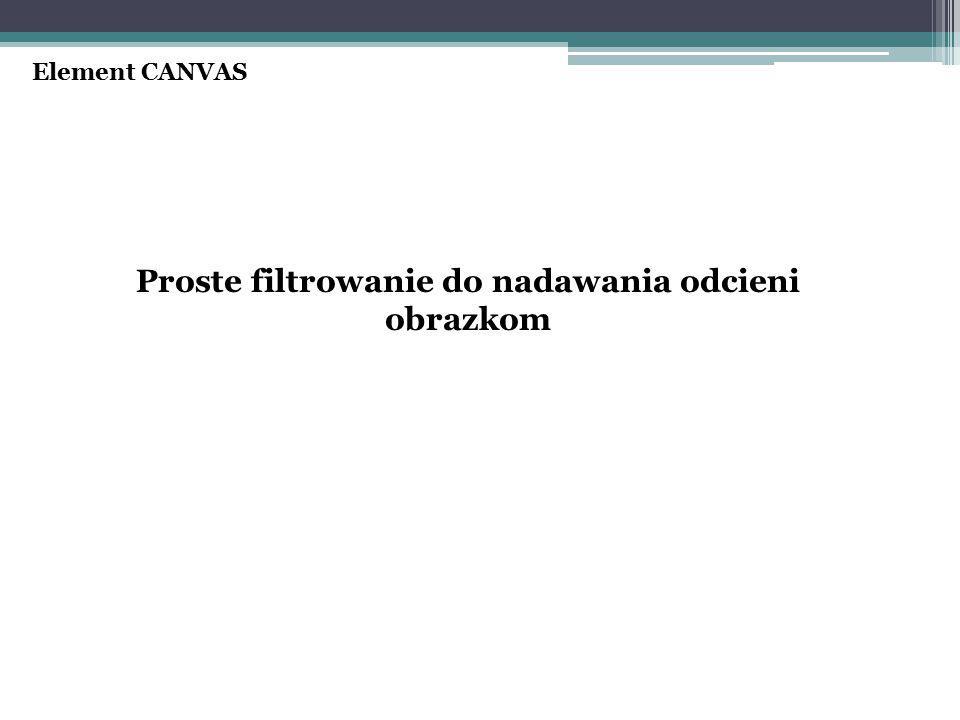 Proste filtrowanie do nadawania odcieni obrazkom Element CANVAS